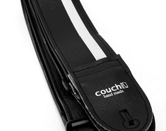 Black and White Racing Stripe Guitar Strap - Vegan Plenty of Colors To Choose From