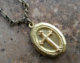 Holy Crucifix Locket in Brass, First Communion Brass Locket Exclusive Design by Enchanted Lockets