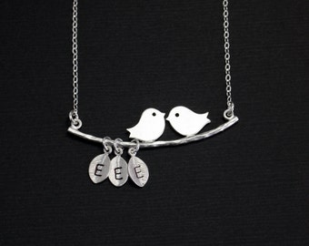 Mother Grandma Gift, Kissing Lovebirds Necklace, Personalized Necklace, Silver Bird Branch Necklace. Monogram Charm,Children's Initials