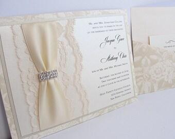 Lace Wedding Invitations, Lace Wedding Invite, Wedding Invitations, Wedding Invite, Floral Invite, Vintage Invitation CONNIE - HORIZONTAL
