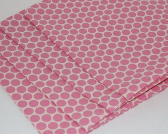 Pink and Cream Polka Dot Cloth Napkins Set of 4