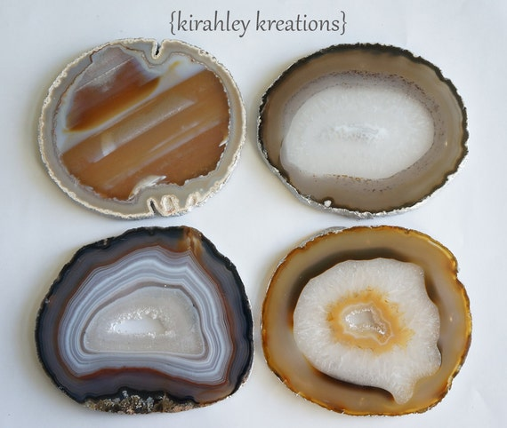 Earthy AGATE Coasters -- FREE Shipping in USA, 4 Brown Grey Red Cream Crystal Geode Slices, With Silver Edges -- Wedding Holiday Grad Gift