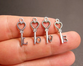 12 silver key charms - silver tone key charms  - love key charms  3 set  -  ASA123