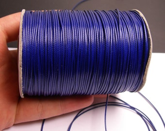 Polyester wax cord - 1mm - high quality - 160 meter - 524 foot - dark blue - full roll -  PEC13