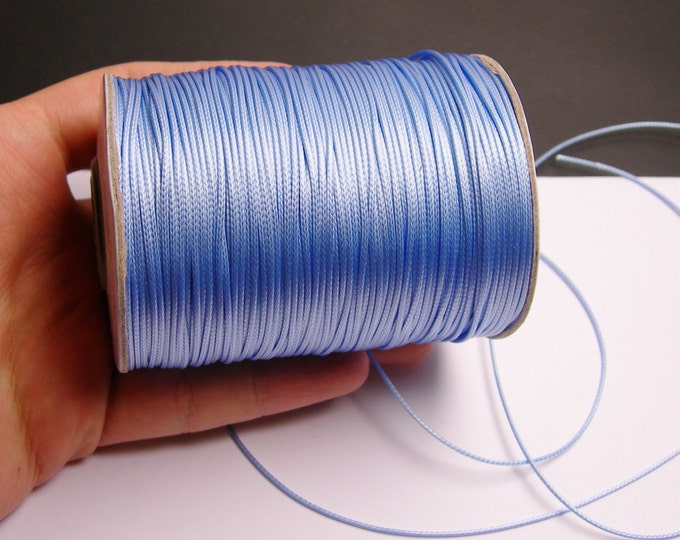 Polyester wax cord - 1mm - high quality - 160 meter - 524 foot - sky blue - full roll -  PEC11