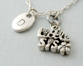 Sister Jewelry, Little Sister Initial Necklace,Little Sister Gift, Initial Necklace, Initial Hand Stamped, Monogram, Sisters Necklace