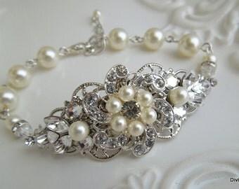 ivory swarovski pearl and crystal Bracelet, Statement Bridal Bracelet, Bridal Cuff, Wedding Rhinestone Bracelet, swarovski crystal, AMELIA