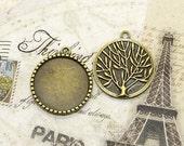 5 pcs Antique brass round Cabochon Pendant Base (Fit Cabochon 25mm), Pendant findings