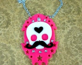BIG TOP CIRCUS-Laser Cut Acrylic Black, Pink and White Mustache Skull Circus Pendant Necklace