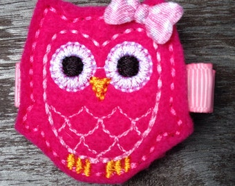 Hot Pink Owl Felt Hair Clip Barrette - No Slip Grip