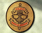 Nerd World Order Iron on Patch on Cowhide Leather