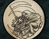 Death Rides a Pale Horse Iron on Patch on Cowhide Leather