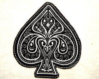 Ace of Spades Iron on Patch on Cowhide Leather