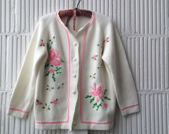 60s Ladies Embroidered Cardigan - Spring Butterfly