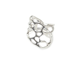 Sterling Silver Thick Cactus Ring, Silver Desert Ring, Organic Statement Ring, Eco-Friendly Ring, Botanical Ring, Silver Southwest Ring