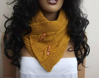 UNISEX  Mustard Yellow cowl / neck warmer / hand knit neck warmers