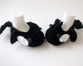 Cotton Crochet Baby Orca slippers, house shoes-Crochet Baby Booties-for Baby or Toddler-Crocheted Orca Whale -newborn boy slippers-animal