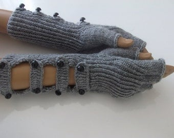Gray gloves with buttons-Half Finger Gloves With a buttons