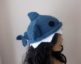 Indigo color Knit Shark hat-for  adult size