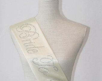 Bride To Be- Bachelorette Party Sash - IVORY CREAM - Bridal Shower Gift