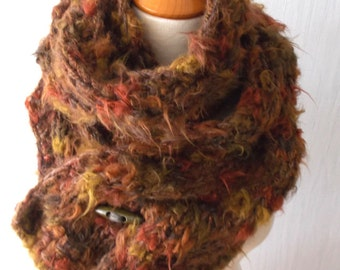Chunky Scarf Handknit Big Cowl Extra Thick Cabled Soft  in Brown Copper Mustard