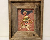 Tole Painted Scarecrow Man and Crow, Framed in Barn Wood, Burlap Background, Autumn Fall Scene, Black Crow, Button Sunflower, Scarecrow Man