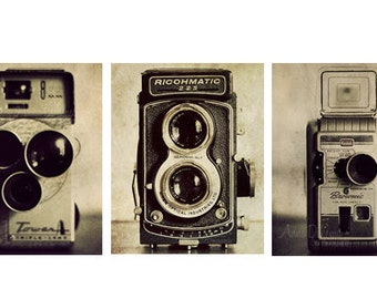 Vintage Camera Print Collection - monochromatic wall art, antique cameras, office decor, picture set, print gallery