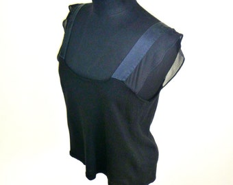 Vintage 90's Black Wool Cropped Tank Top with Silk Straps with Sheer Ruffles Women's Size Medium