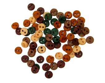 Jesse James Button Embellishments Micro MIni Fall Doll Size Buttons Tan Rust Brown Green