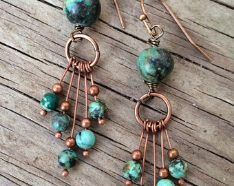 Turquoise earrings, funky earrings, turquoise dangle earrings, African turquoise jewelry, dangle earrings, copper earrings, unique earrings