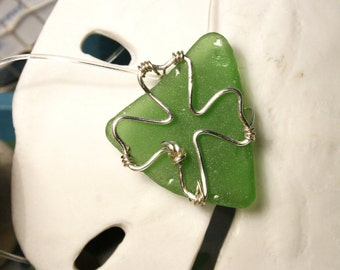Shamrock Green Sea Glass Necklace Pendant St. Patrick's Day Irish