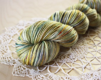 Hand Dyed Yarn / Fingering Weight / Gold Silver Pewter Patina Silk Merino Wool