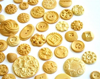 Edible, Candy Vintage Buttons / Vanilla -Gold Sparkle / No two alike before 100 Pieces - by Andie's Specialty Sweets