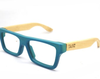 Turquoise handmade bamboo  wayfarer glasses  and wood box TAKE MJX1055