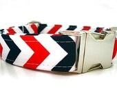 Patriotic Chevron Dog Collar with Nickel Plate Hardware
