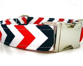 Patriotic Chevron Dog Collar with Nickel Plate Hardware