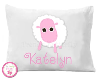 Pink Sheep Personalized Pillow Case ,  Kids Personalized Pillow Case