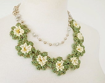 Lace Jewelry (Spring Spring) Fiber Art Necklace, Statement Necklace, Crochet Necklace, Double Necklace