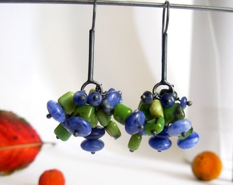 Green Blue Abstraction Earrings - Sodalite Chrysoprase Silver Earrings - Colorful Everyday Earrings - Gemstone Earrings - ready to ship -