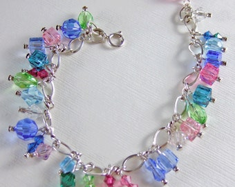 "Pastel Swarovski Crystal Sterling Silver ""Charm"" Bracelet"