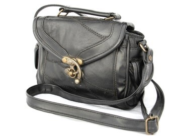 Charline, Vintage, 1970s Black Leather Satchel Crossbody Handbag, from Paris