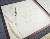 Floral Wedding Invitations, Rustic Wedding Invitatons, Winery, Plum, Tan, Purple & Pink, Graceful Botanic - Flat Panel, 1 Layer, v2 -DEPOSIT