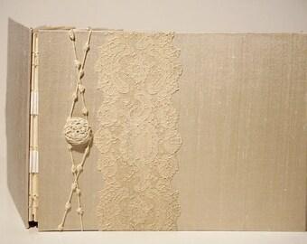 Wedding Photo Album - Antique Ivory Alencon Lace