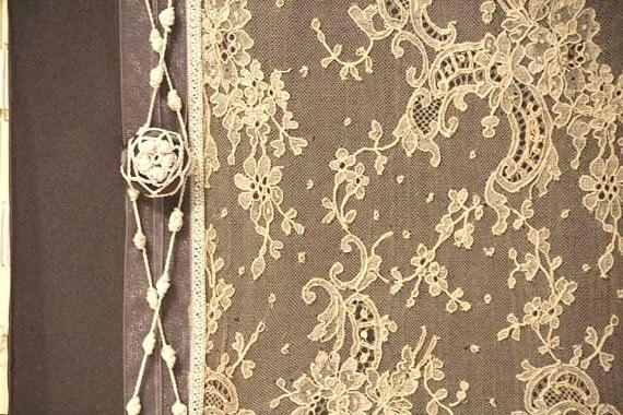 Custom Photo Album, Wedding Memory Book,  Slate Gray. Antique Alencon Lace