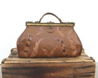 SALE Vintage Brown Leather and Snakeskin Doctors Bag
