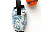 Dog Poop Bag Dispenser - Eco Friendly, Recycle Your Plastic Bags - Blue white damask