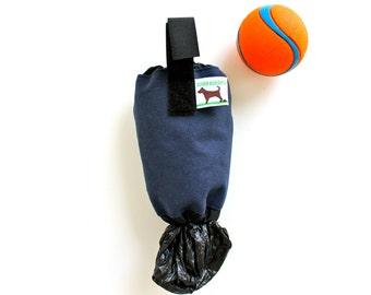 Dog Waste Bag Holder Leash Bag - Eco Friendly reuse your plastic shopping bags - Navy