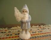 Folk Art Chalkware Mini Belsnickle Santa from Chocolate Mold Baby Blue Coat  Custom Order