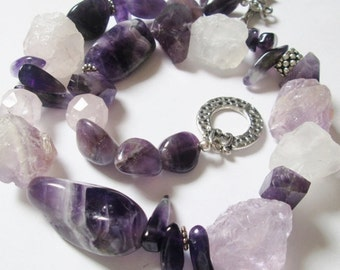 Natural Rough Crystalline Amethyst and Clear Quartz and Amethyst Necklace, Handmade jewelry, Handmade Necklace