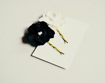 velvet flower bobby pins hair pins for women, girl, teen, gift for her: vivian, free shipping always at ahnooshig